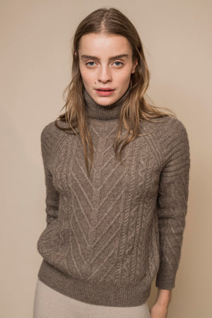 Cable-Knit Yak Wool Jumper with High-Collar