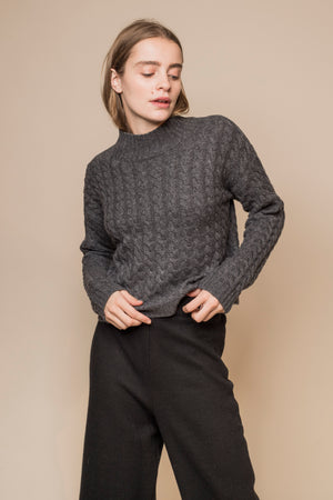 Cable-Knit Wool Cropped Jumper