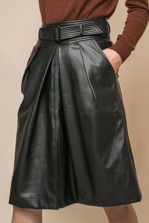 High Waisted Faux Leather Skirt w/ Belt