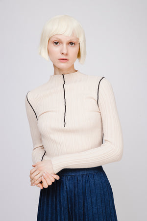 Knit Top with Contrasting Piping