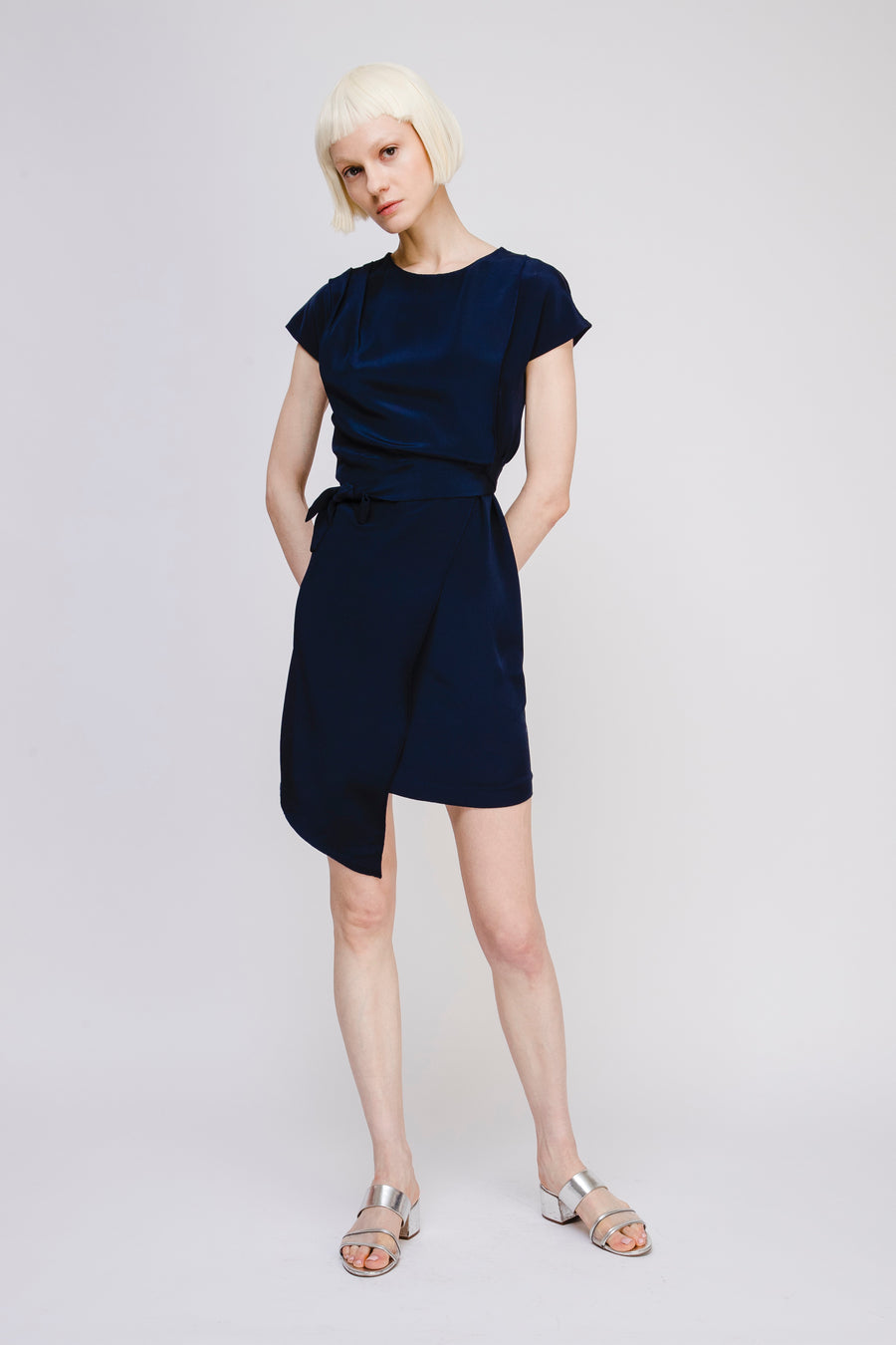 Asymmetric Silk Dress with Bow Detail