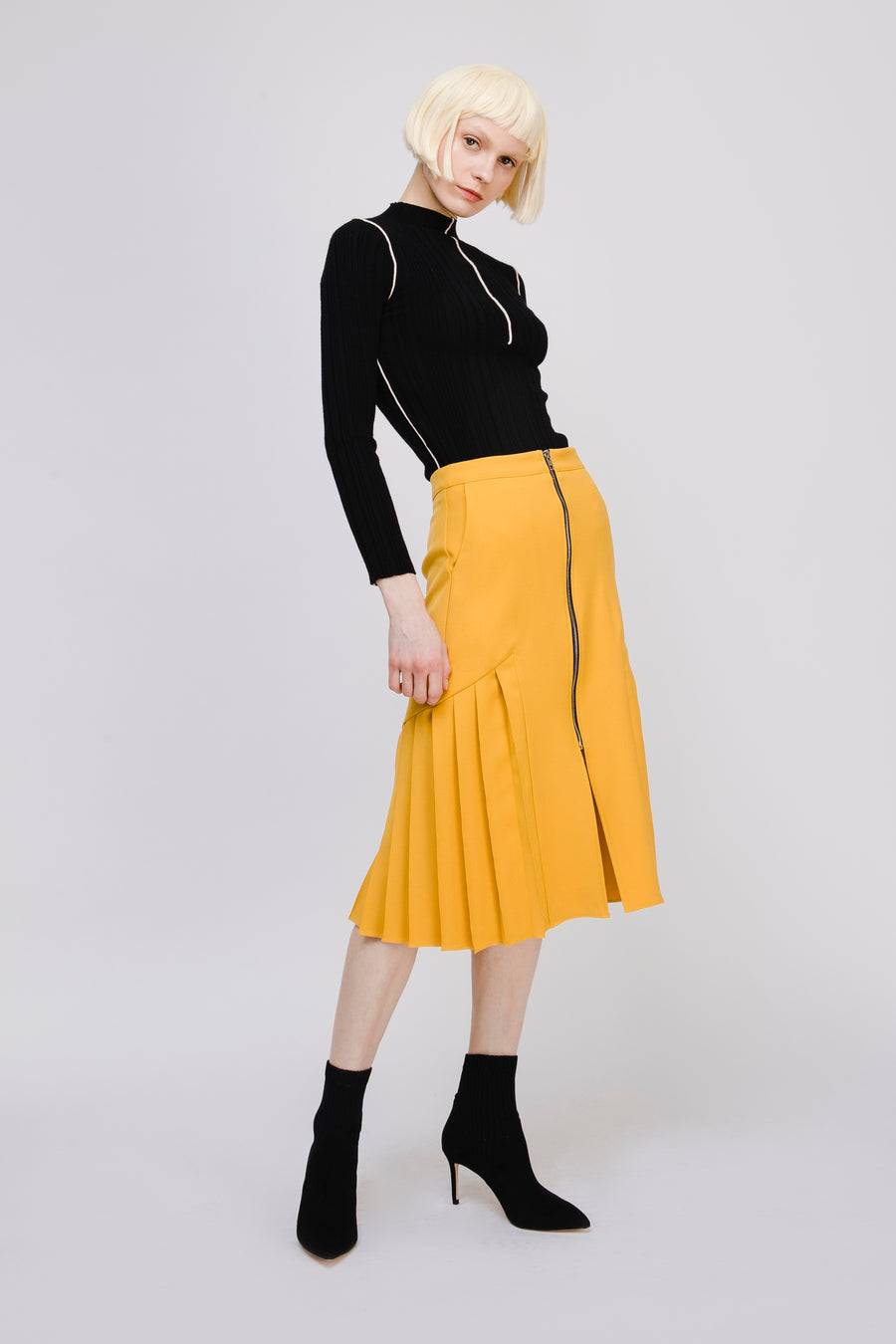 Pleated Midi Skirt with Zip Detail
