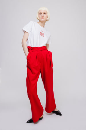 Boyfriend Style Loose Wide Leg Pants with Belt