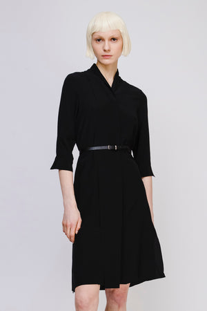 V Neck Silk Dress with Belt