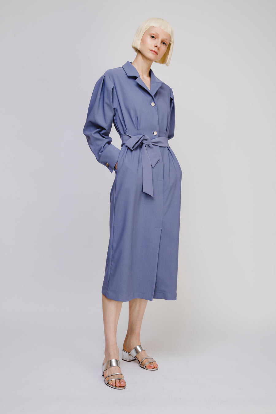 Collared Shirt Dress with Belt