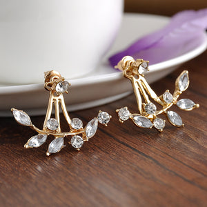 Crystal Leaf Ear Jacket Earrings - RynieR