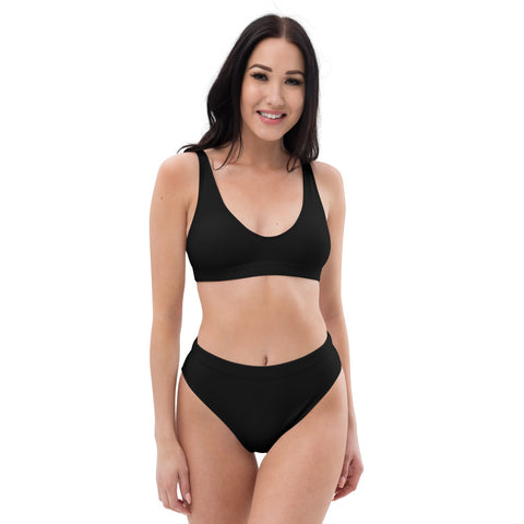 Black- Recycled Material High-Waisted Bikini Set