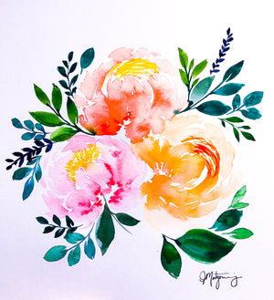 Peony Watercolour Bouquet