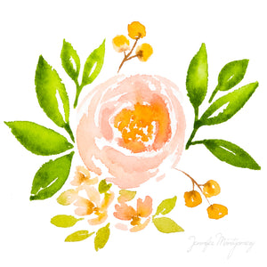 Peachy Pink Watercolour Rose