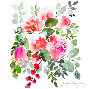 Soft Red Watercolour Blooms