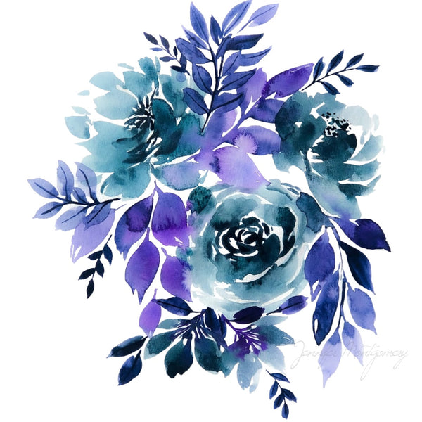 Watercolour Florals Indigo and Violet | Weave & Woven