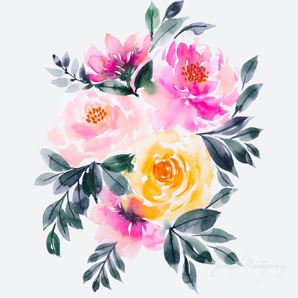 Watercolour Florals Peachy Pink | Weave & Woven