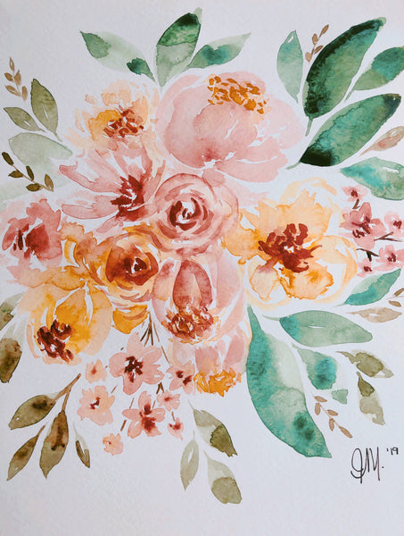 Yellow & Brown Warm Tones Watercolour Bouquet | Painted by J. from Weave and Woven