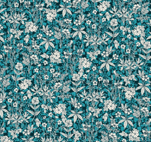 Florals in Dark Turquoise, Quilting Cotton, Stof - Weave & Woven
