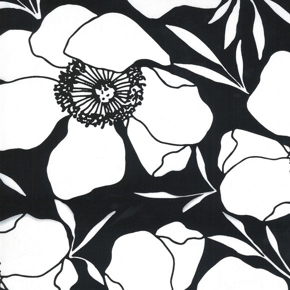 Anemone Flowers on Ink | Canvas - Weave & Woven