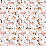 Playing Cats on White, Quilting Cotton, Paintbrush Studio - Weave & Woven