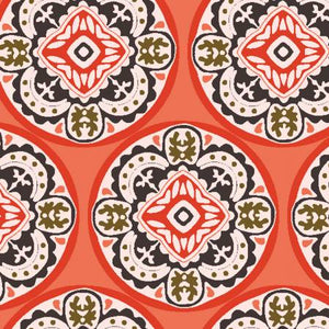 Coral Tiles, Glorious Garden Collection For 3 Wishes Fabric, Weave and Woven