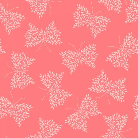 Pink Butterflies, Little Thicket Collection for 3 Wishes Fabric, Weave and Woven