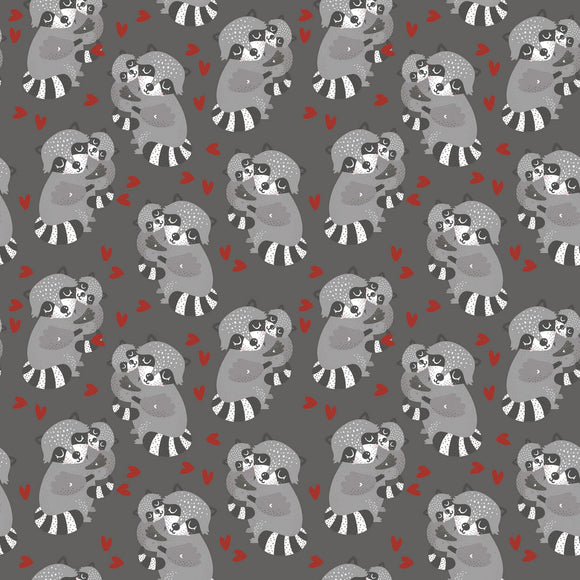 Raccoon Hugs in Grey, Quilting Cotton, 3 Wishes - Weave & Woven