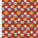 Animals Faces in Red, Quilting Cotton, 3 Wishes - Weave & Woven