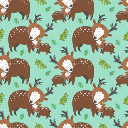 Deer Hugs in Turquoise, Quilting Cotton, 3 Wishes - Weave & Woven