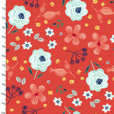 Aqua Florals on Red, Quilting Cotton, 3 Wishes - Weave & Woven