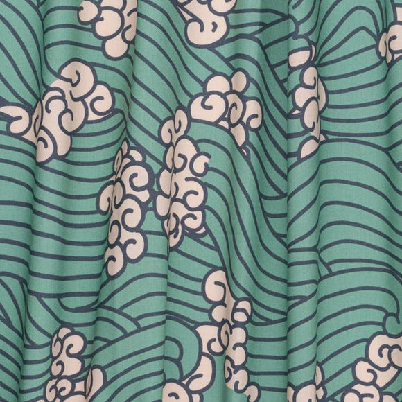 Waves in Green | Organic Cotton, Quilting Cotton, Nerida Hansen - Weave & Woven