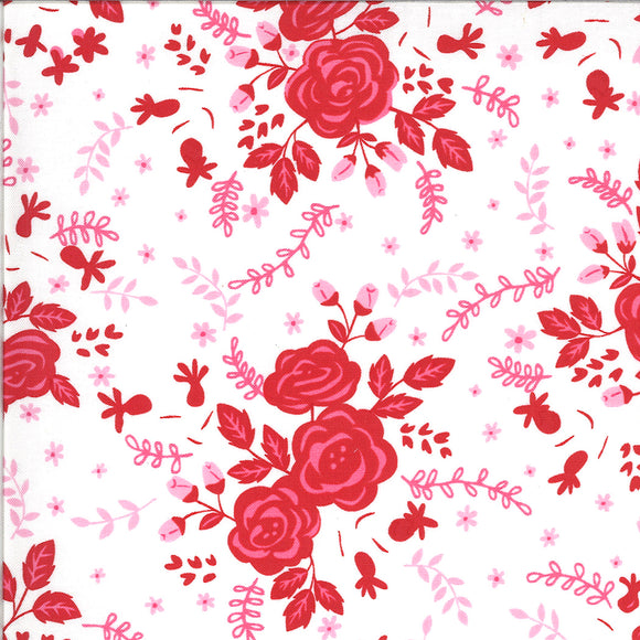 Floral Love in Dove, Quilting Cotton, Moda Fabrics - Weave & Woven