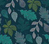 Leaves on Teal, Quilting Cotton, Northcott - Weave & Woven