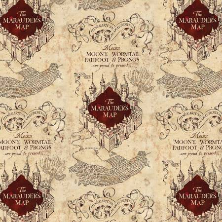 Marauders Maps in Tan, Wizarding World Collection for Camelot Fabric, Harry Potter Fabric, Weave and Woven