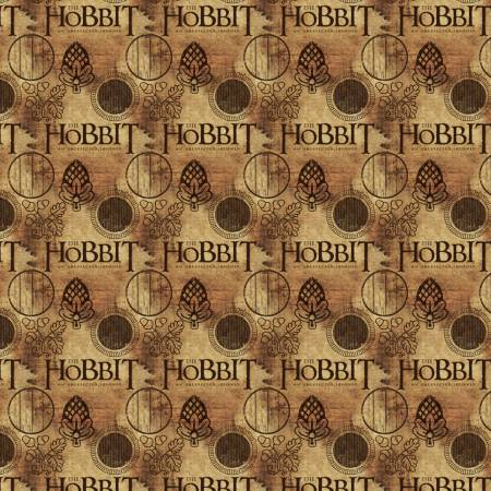 The Hobbit Logo in Brown, The Hobbit for Camelot Fabric, Weave and Woven