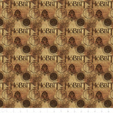 The Hobbit Logo on Brown, Quilting Cotton, Camelot Fabrics - Weave & Woven