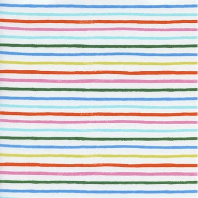 Happy Stripes in White | Cotton Lawn - Weave & Woven