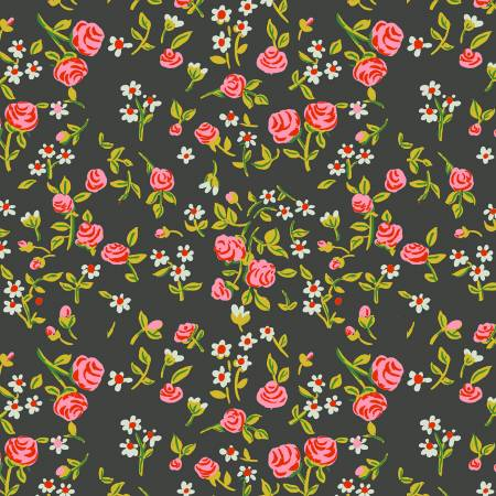 Mousies Floral in Dark Green, Trixie Collection for Windham Fabrics, Weave and Woven