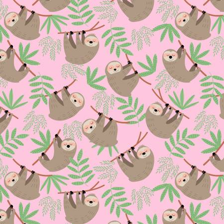 Sloths in Pink | Flannel - Weave & Woven
