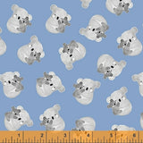 Koala Hugs on Blue, Quilting Cotton, Windham - Weave & Woven