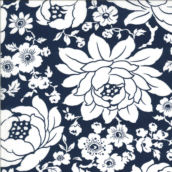 Mums on Navy, Quilting Cotton, Moda Fabrics - Weave & Woven