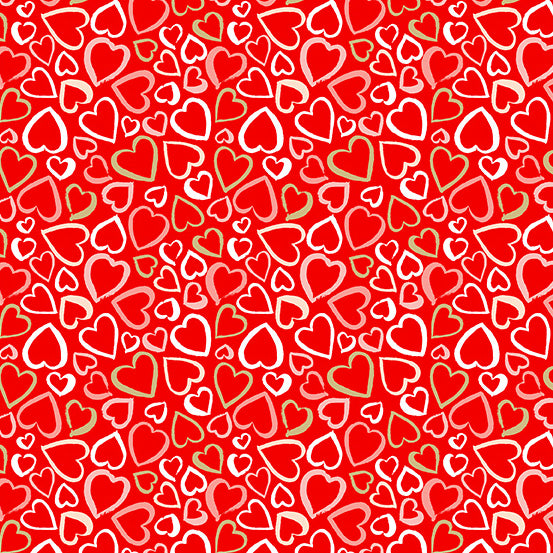 Hearts on Red | Metallic Gold Accents - Weave & Woven