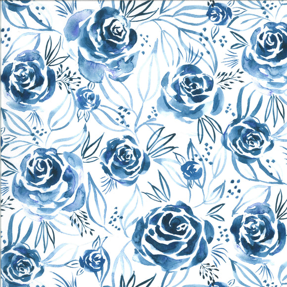 Moody Blooms Roses in Indigo, Quilting Cotton, Moda Fabrics - Weave & Woven