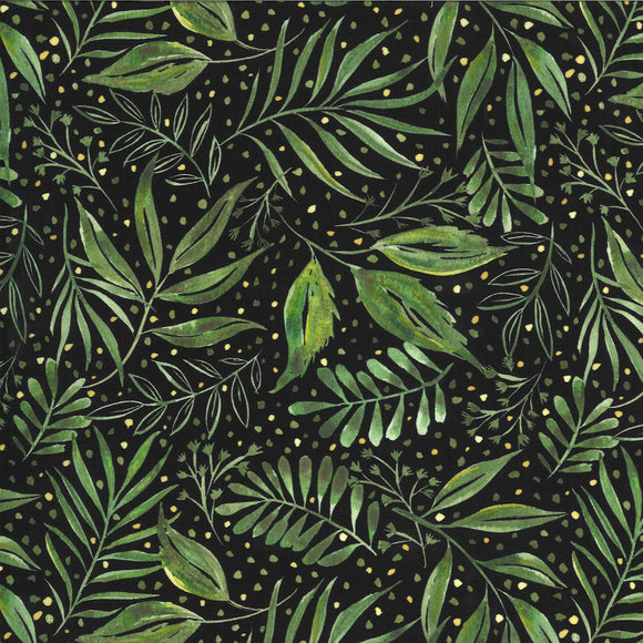 Moody Blooms Foliage on Black, Quilting Cotton, Moda Fabrics - Weave & Woven