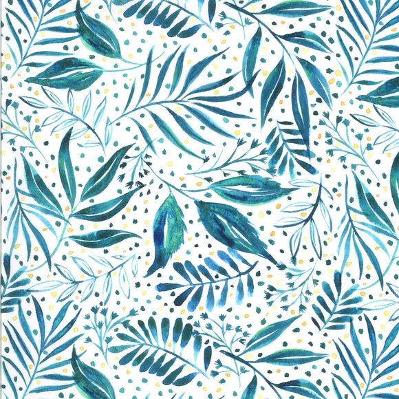 Moody Blooms Foliage in Teal, Quilting Cotton, Moda Fabrics - Weave & Woven