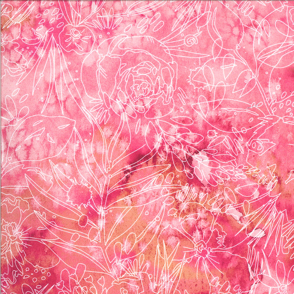 Moody Blooms Floral Outlines on Fuchsia, Quilting Cotton, Moda Fabrics - Weave & Woven