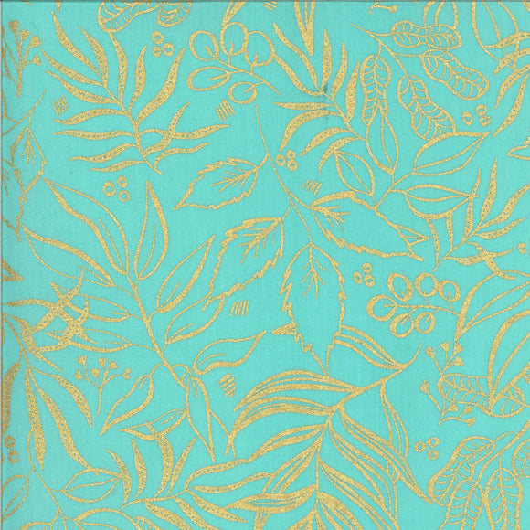 Moody Blooms Metallic Gold Outline on Jade, Quilting Cotton, Moda Fabrics - Weave & Woven