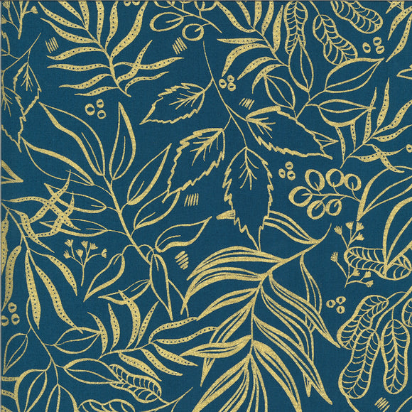 Blooms Metallic Gold Outline on Teal - Weave & Woven
