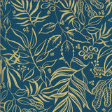 Blooms Metallic Gold Outline on Teal, Quilting Cotton, Moda Fabrics - Weave & Woven