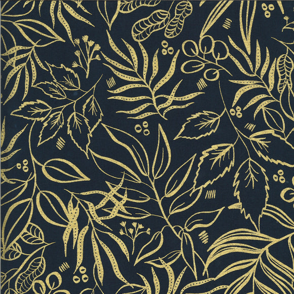 Blooms Metallic Gold Outline on Midnight, Quilting Cotton, Moda Fabrics - Weave & Woven