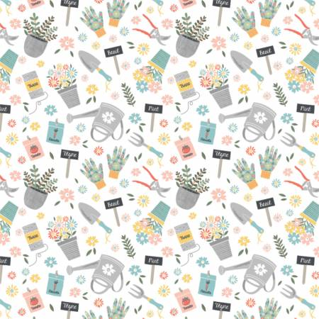 Joy of Gardening on White, Quilting Cotton, Camelot Fabrics - Weave & Woven