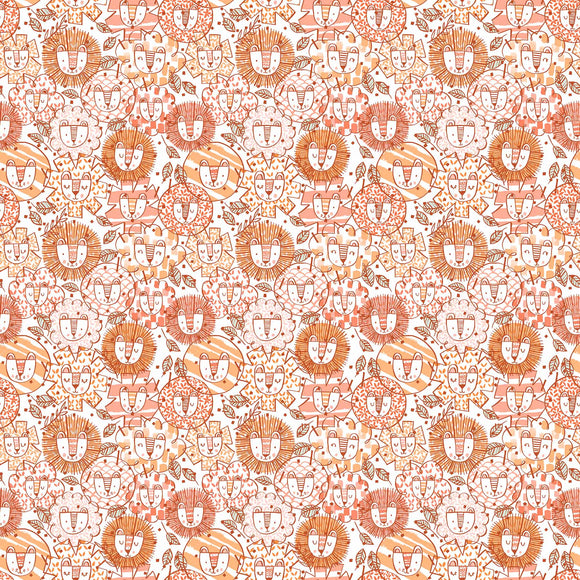 Lions on Coral, Quilting Cotton, Figo - Weave & Woven