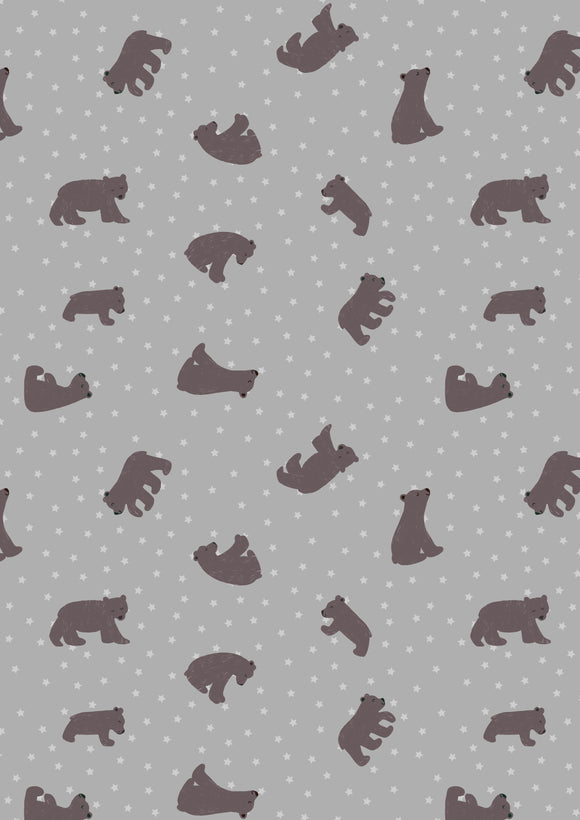 Starry Bear in Grey, Quilting Cotton, Lewis and Irene - Weave & Woven