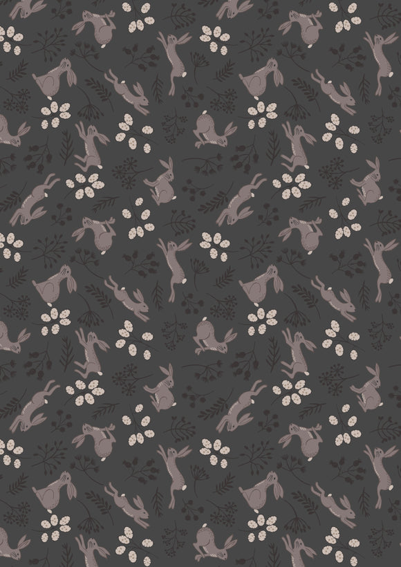 Bunny Jump on Black, Quilting Cotton, Lewis and Irene - Weave & Woven